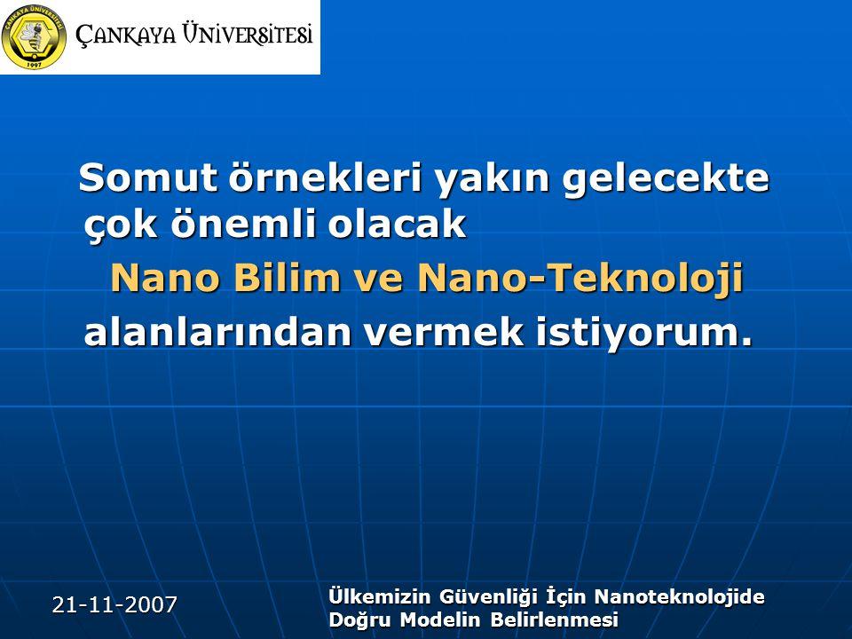 21-11-2007 Ülkemizin Güvenliği İçin Nanoteknolojide Doğru Modelin Belirlenmesi Somut örnekleri yakın gelecekte çok önemli olacak Somut örnekleri yakın