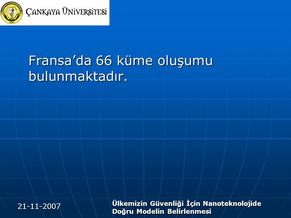 21-11-2007 Ülkemizin Güvenliği İçin Nanoteknolojide Doğru Modelin Belirlenmesi Fransa'da 66 küme oluşumu bulunmaktadır.