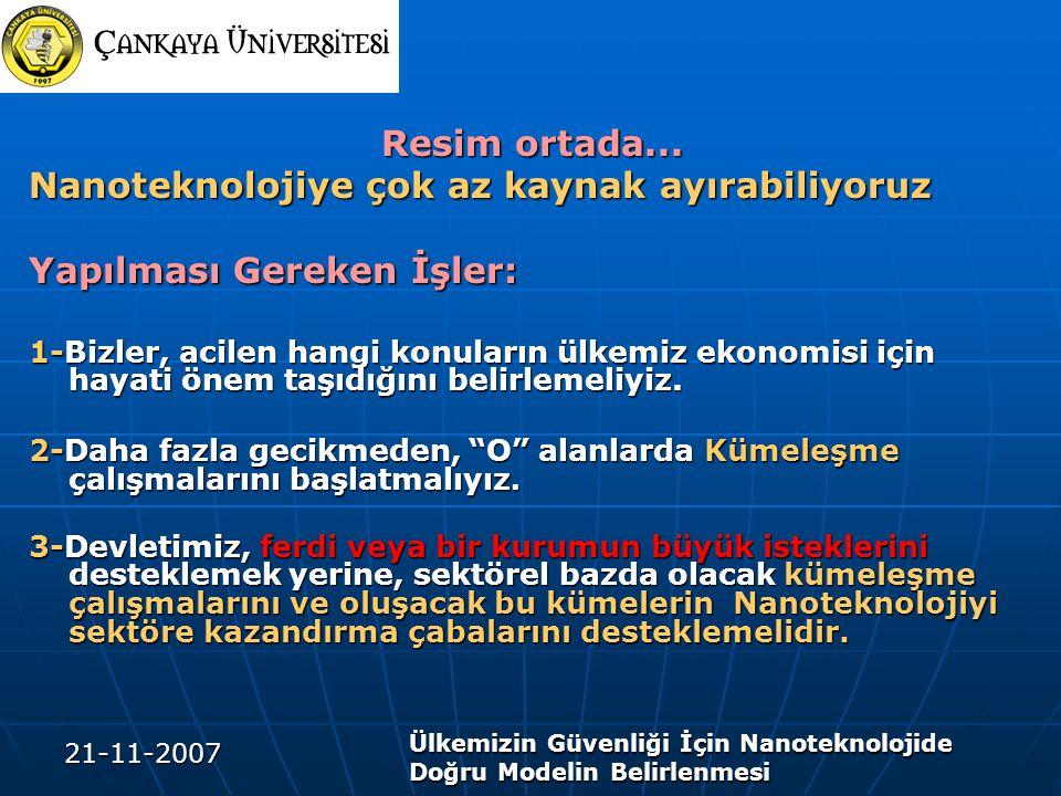 21-11-2007 Ülkemizin Güvenliği İçin Nanoteknolojide Doğru Modelin Belirlenmesi Resim ortada... Resim ortada... Nanoteknolojiye çok az kaynak ayırabili