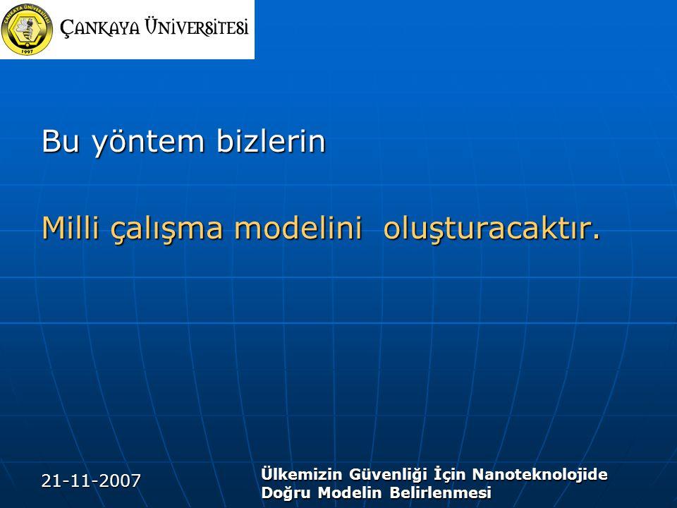 21-11-2007 Ülkemizin Güvenliği İçin Nanoteknolojide Doğru Modelin Belirlenmesi Bu yöntem bizlerin Milli çalışma modelini oluşturacaktır.