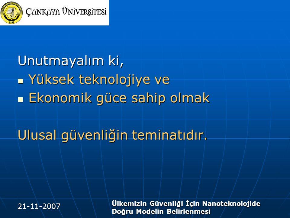 21-11-2007 Ülkemizin Güvenliği İçin Nanoteknolojide Doğru Modelin Belirlenmesi Unutmayalım ki, Yüksek teknolojiye ve Yüksek teknolojiye ve Ekonomik gü