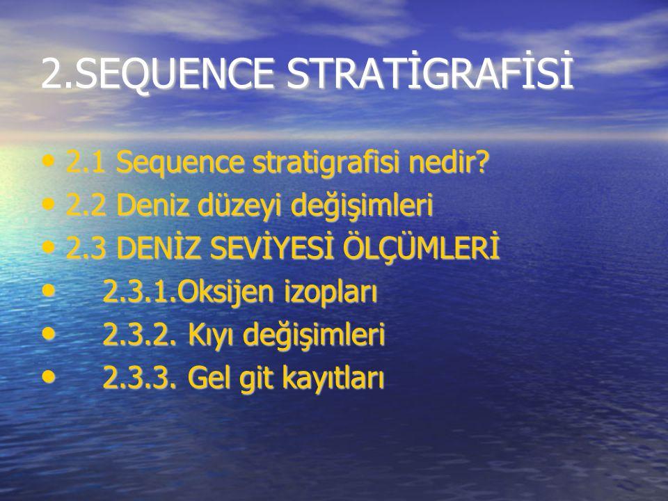 2.SEQUENCE STRATİGRAFİSİ 2.1 Sequence stratigrafisi nedir? 2.1 Sequence stratigrafisi nedir? 2.2 Deniz düzeyi değişimleri 2.2 Deniz düzeyi değişimleri