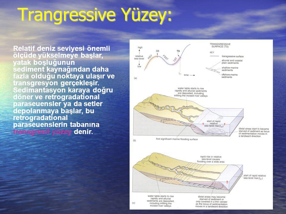 Trangressive Yüzey: Relatif deniz seviyesi önemli ölçüde yükselmeye başlar, yatak boşluğunun sediment kaynağından daha fazla olduğu noktaya ulaşır ve transgresyon gerçekleşir.