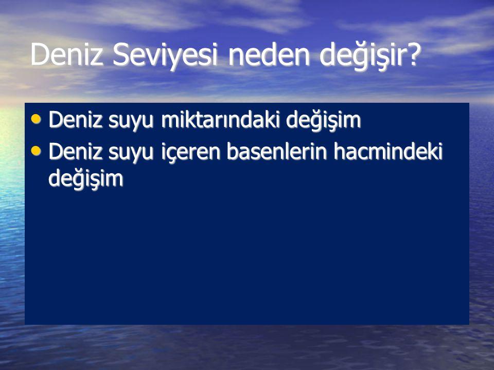 Deniz seviyesi kavramları Su derinliği: Deniz yüzeyi ile biriken sedimentlerin üst yüzeyi arasındaki mesafedir.