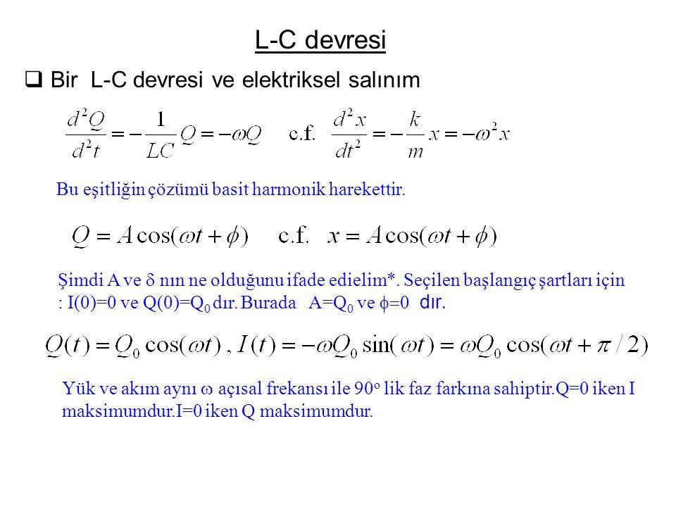 L-C devresi  Bir L-C devresi ve elektriksel salınım Bu eşitliğin çözümü basit harmonik harekettir. Şimdi A ve  nın ne olduğunu ifade edielim*. Seçil