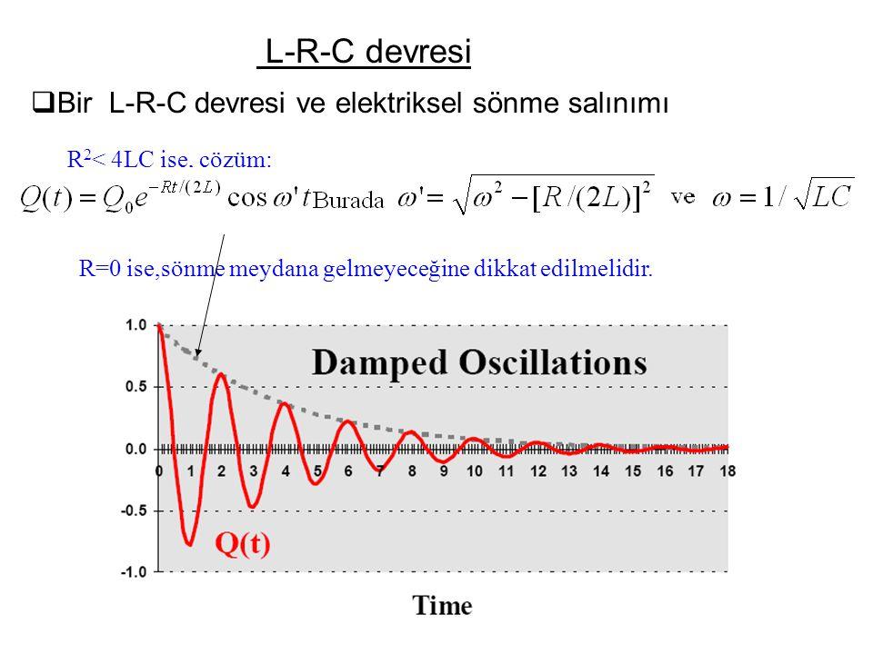 L-R-C devresi  Bir L-R-C devresi ve elektriksel sönme salınımı R 2 < 4LC ise, çözüm: R=0 ise,sönme meydana gelmeyeceğine dikkat edilmelidir.