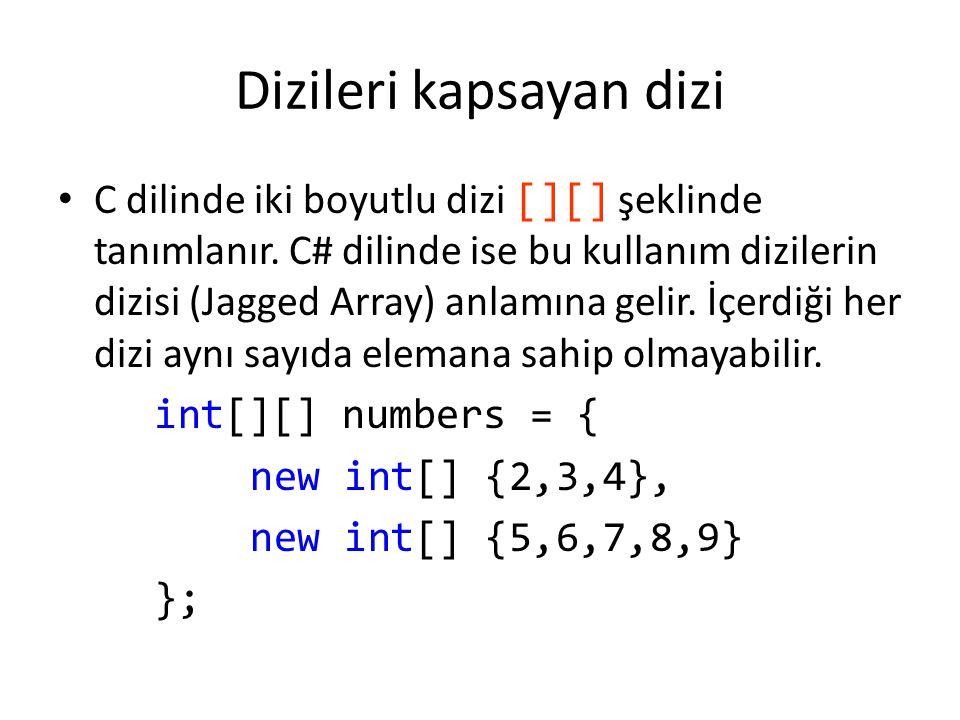 Notlar C# dilinde new kullanımının faydası: int[] sayilar; Dizinin henüz sadece türü belli büyüklüğü belli değil sayilar = new int[10]; Şu anda 10 elemanlı olduğunu belirledik sayilar = new int[20]; Şimdi de 20 elemanlı olarak yeniden tanımladık foreach (C: for each, VB: For Each) döngüsü ile dizinin eleman sayısı kadar döngü adımı sağlanabilir: int[] sayilar = {4, 5, 6, 1, 2, 3, -2, -1, 0}; foreach (int i in sayilar) Console.WriteLine(i);