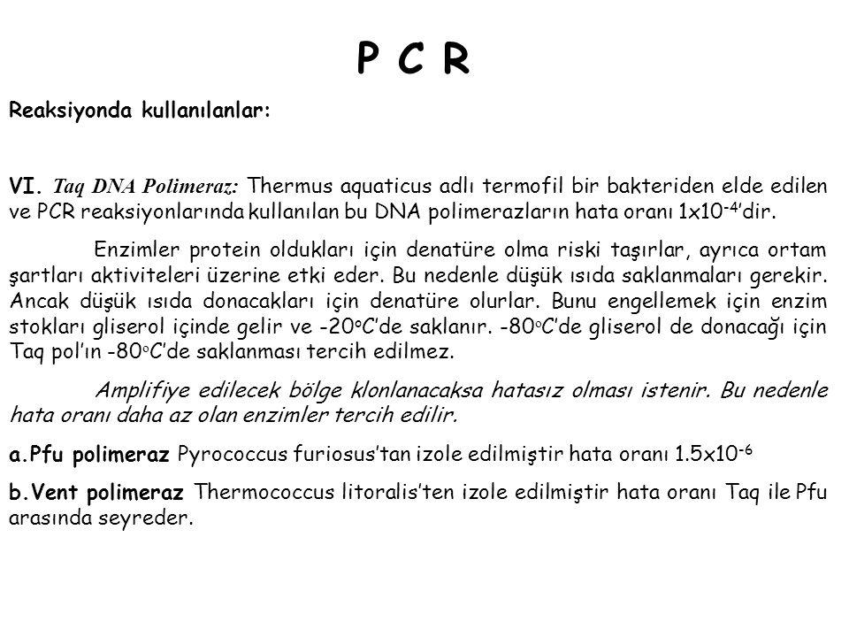 P C RP C R Reaksiyonda kullanılanlar: VI. Taq DNA Polimeraz: Thermus aquaticus adlı termofil bir bakteriden elde edilen ve PCR reaksiyonlarında kullan