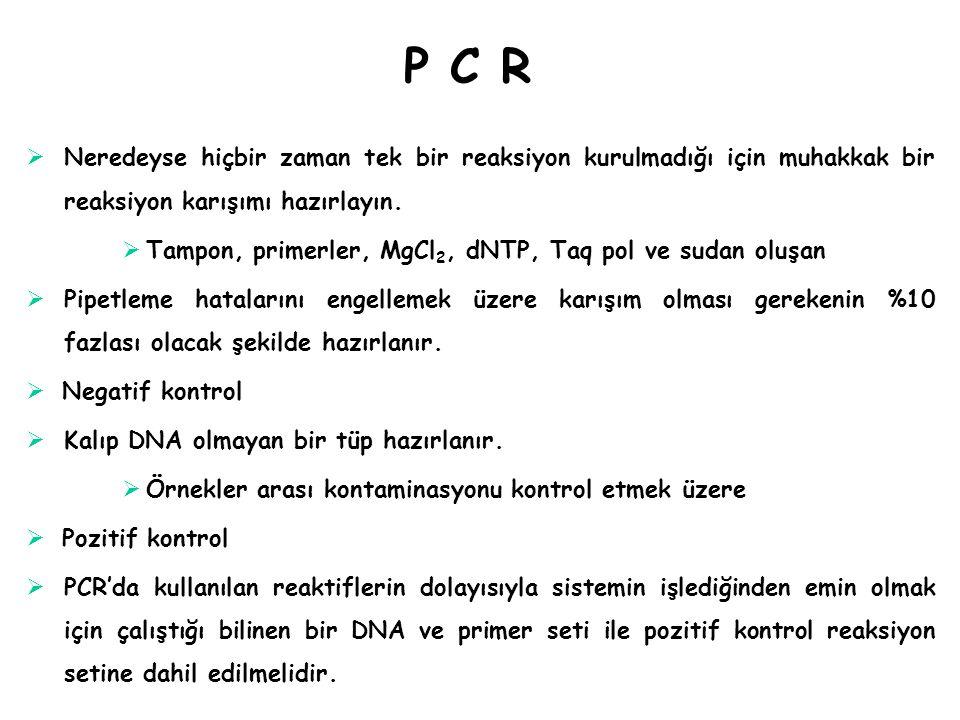P C RP C R  Neredeyse hiçbir zaman tek bir reaksiyon kurulmadığı için muhakkak bir reaksiyon karışımı hazırlayın.  Tampon, primerler, MgCl 2, dNTP,