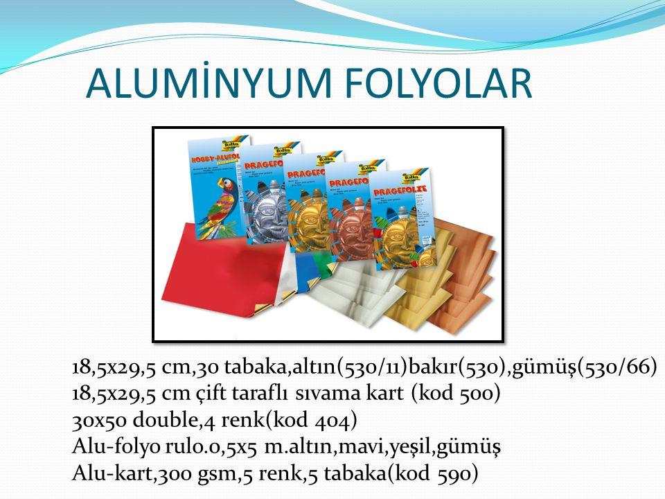 ALUMİNYUM FOLYOLAR 18,5x29,5 cm,30 tabaka,altın(530/11)bakır(530),gümüş(530/66) 18,5x29,5 cm çift taraflı sıvama kart (kod 500) 30x50 double,4 renk(ko