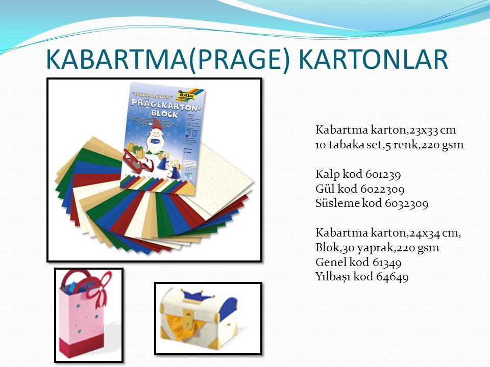 KABARTMA(PRAGE) KARTONLAR Kabartma karton,23x33 cm 10 tabaka set,5 renk,220 gsm Kalp kod 601239 Gül kod 6022309 Süsleme kod 6032309 Kabartma karton,24