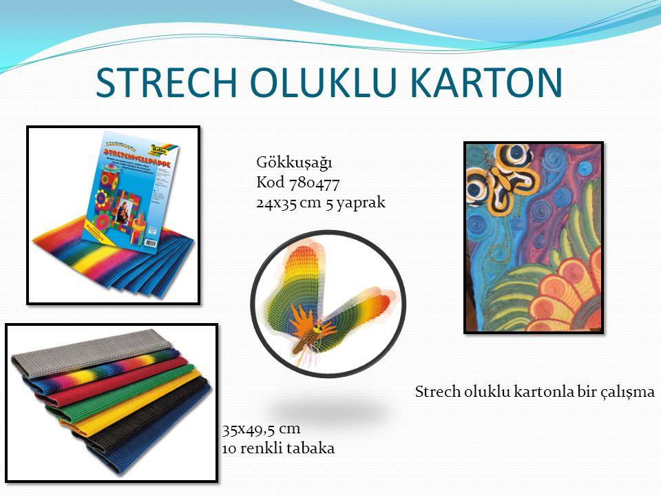 STRECH OLUKLU KARTON Gökkuşağı Kod 780477 24x35 cm 5 yaprak 35x49,5 cm 10 renkli tabaka Strech oluklu kartonla bir çalışma