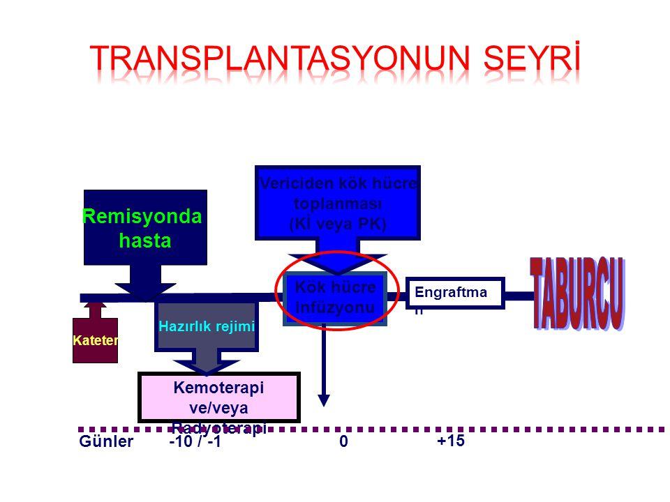 Kateter Kemoterapi ve/veya Radyoterapi Remisyonda hasta Hazırlık rejimi Kök hücre infüzyonu -10 / -10Günler Vericiden kök hücre toplanması (Kİ veya PK