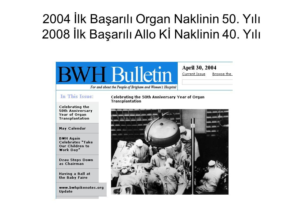 2004 İlk Başarılı Organ Naklinin 50. Yılı 2008 İlk Başarılı Allo Kİ Naklinin 40. Yılı