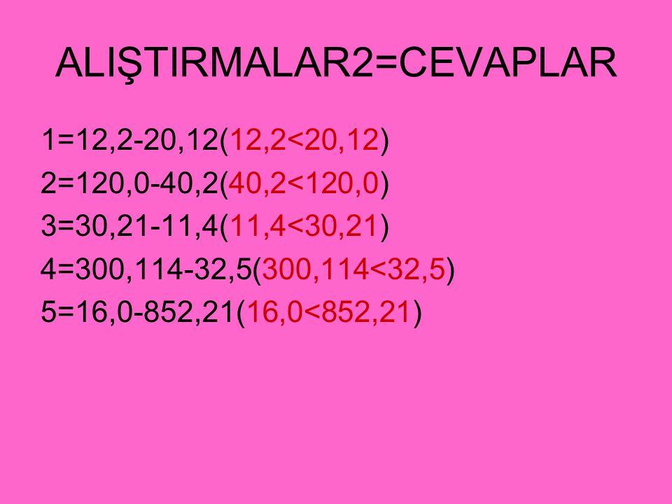 ALIŞTIRMALAR2=CEVAPLAR 1=12,2-20,12(12,2<20,12) 2=120,0-40,2(40,2<120,0) 3=30,21-11,4(11,4<30,21) 4=300,114-32,5(300,114<32,5) 5=16,0-852,21(16,0<852,