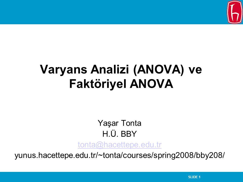 SLIDE 1 Varyans Analizi (ANOVA) ve Faktöriyel ANOVA Yaşar Tonta H.Ü.