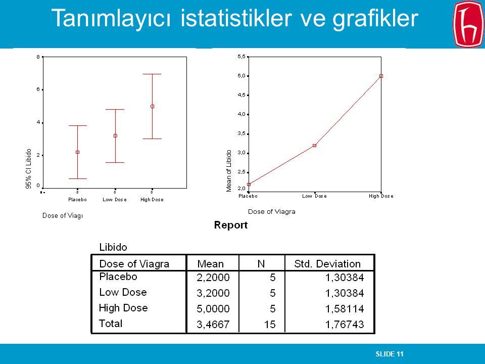 SLIDE 11 Tanımlayıcı istatistikler ve grafikler