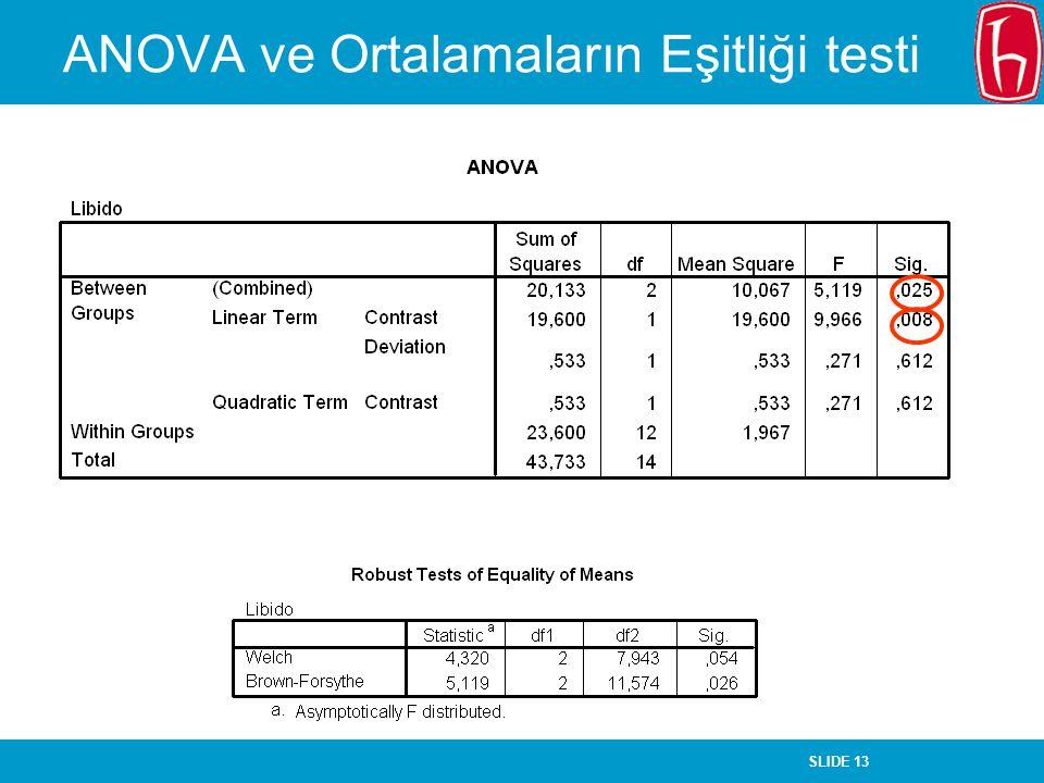 SLIDE 13 ANOVA ve Ortalamaların Eşitliği testi