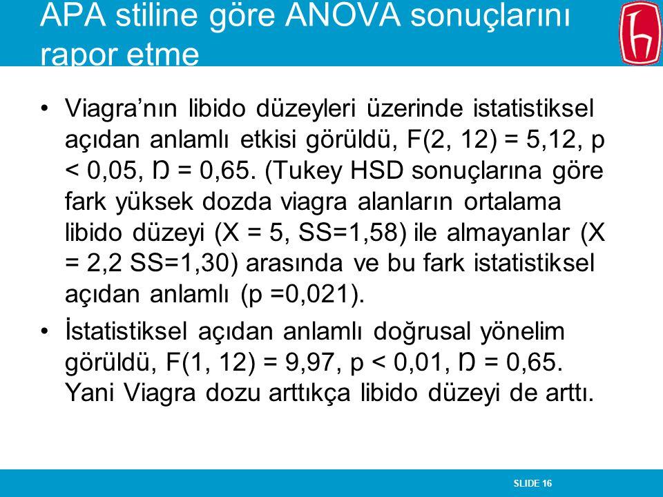 SLIDE 16 APA stiline göre ANOVA sonuçlarını rapor etme Viagra'nın libido düzeyleri üzerinde istatistiksel açıdan anlamlı etkisi görüldü, F(2, 12) = 5,12, p < 0,05, Ŋ = 0,65.