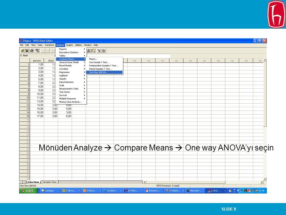SLIDE 8 Mönüden Analyze  Compare Means  One way ANOVA'yı seçin