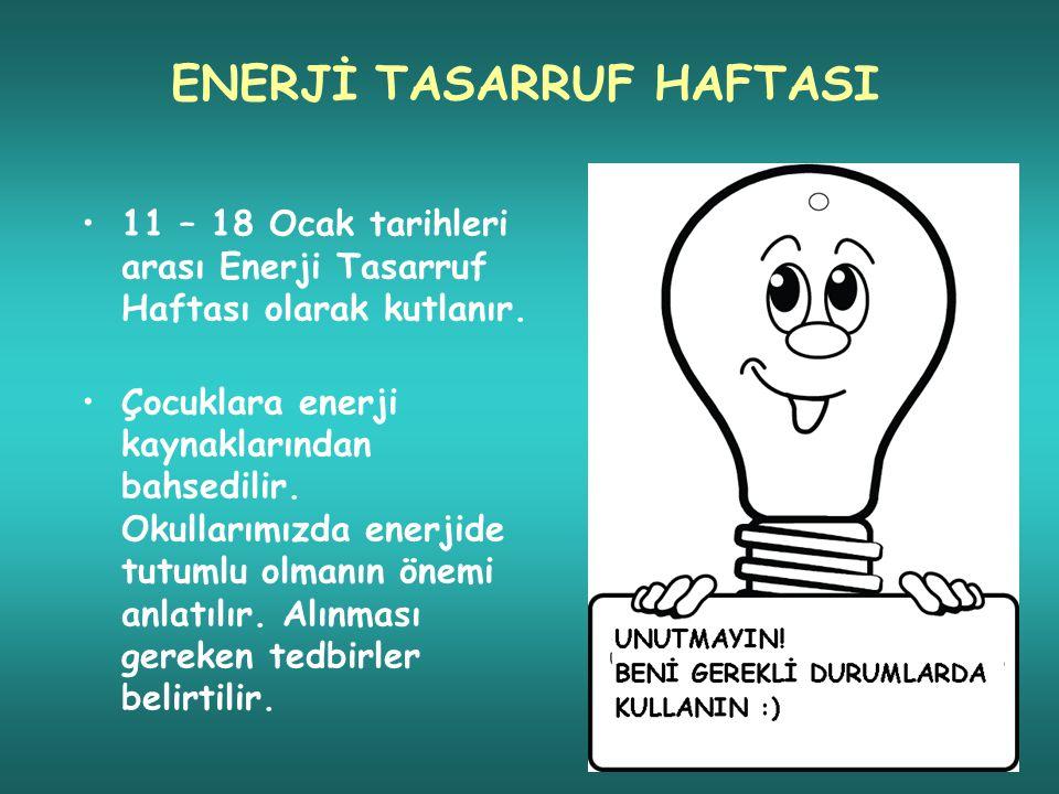 ENERJİ TASARRUF HAFTASI 11 – 18 Ocak tarihleri arası Enerji Tasarruf Haftası olarak kutlanır.