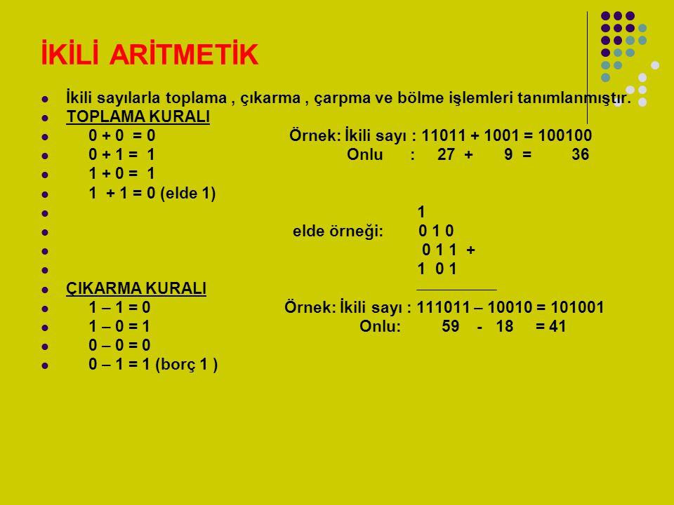 İKİLİ ARİTMETİK İkili sayılarla toplama, çıkarma, çarpma ve bölme işlemleri tanımlanmıştır. TOPLAMA KURALI 0 + 0 = 0 Örnek: İkili sayı : 11011 + 1001