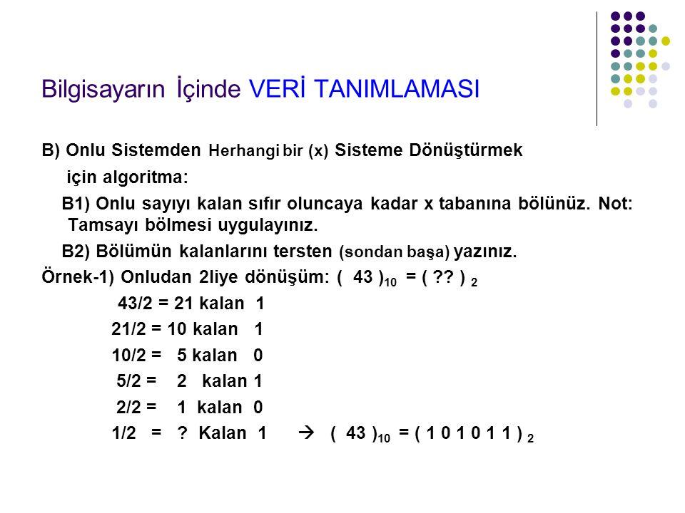 Bilgisayarın İçinde VERİ TANIMLAMASI B) Onlu Sistemden Herhangi bir (x) Sisteme Dönüştürmek için algoritma: B1) Onlu sayıyı kalan sıfır oluncaya kadar