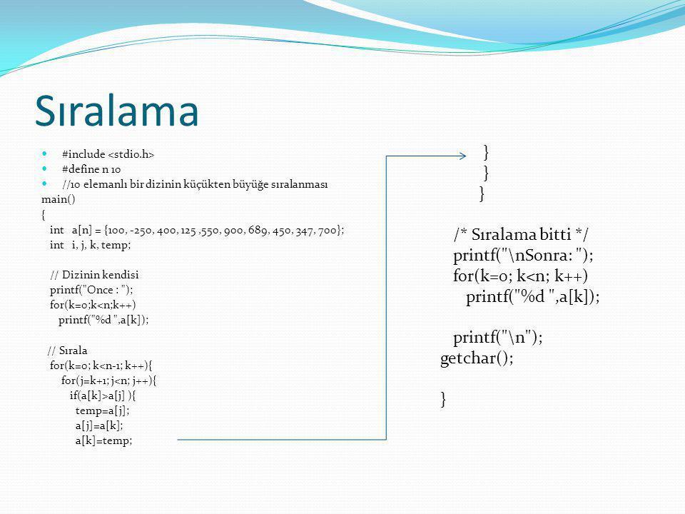 Sıralama #include #define n 10 //10 elemanlı bir dizinin küçükten büyüğe sıralanması main() { int a[n] = {100, -250, 400, 125,550, 900, 689, 450, 347,