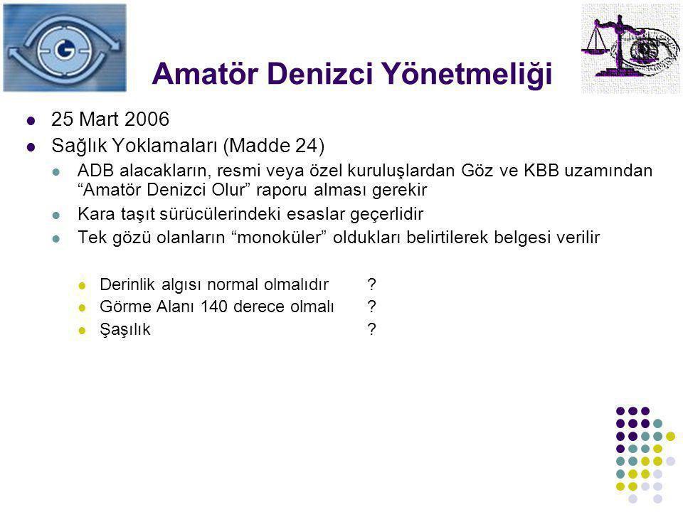 """Amatör Denizci Yönetmeliği 25 Mart 2006 Sağlık Yoklamaları (Madde 24) ADB alacakların, resmi veya özel kuruluşlardan Göz ve KBB uzamından """"Amatör Deni"""