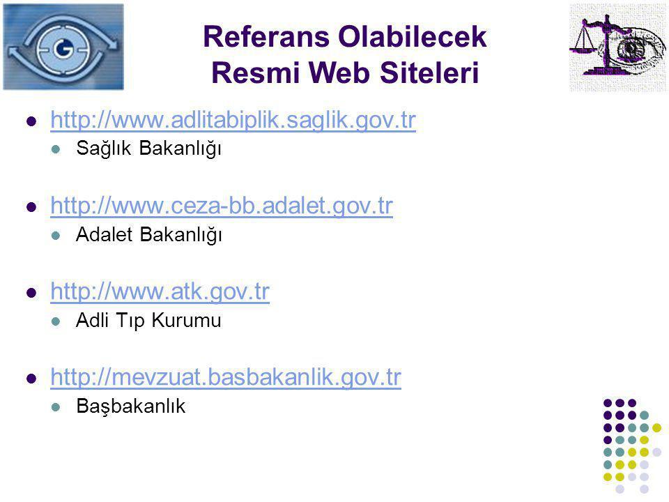 Referans Olabilecek Resmi Web Siteleri http://www.adlitabiplik.saglik.gov.tr Sağlık Bakanlığı http://www.ceza-bb.adalet.gov.tr Adalet Bakanlığı http:/