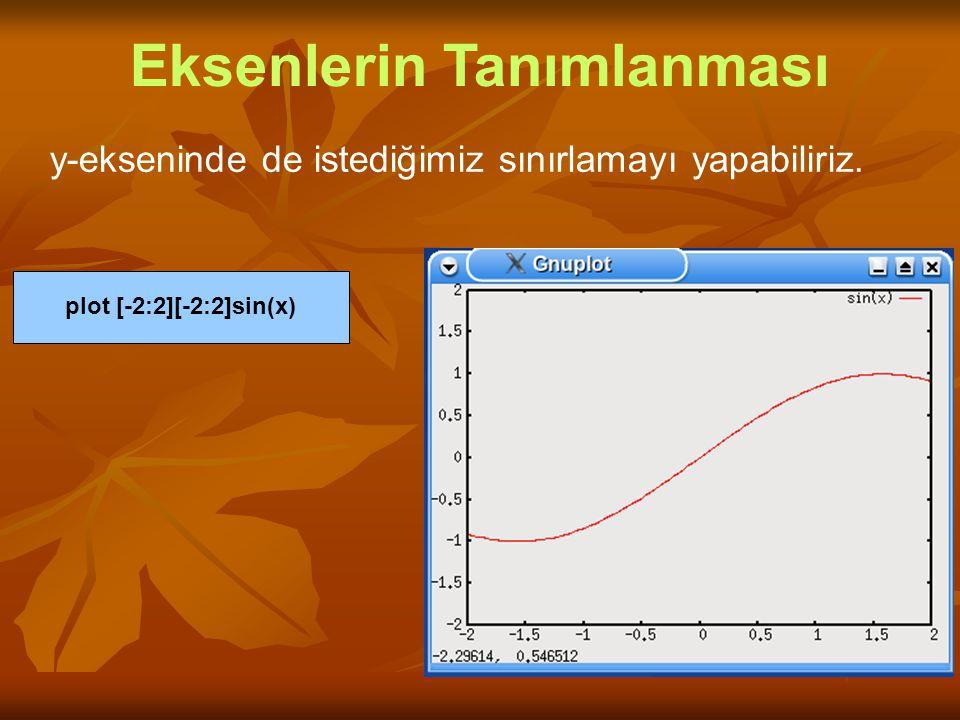 y-ekseninde de istediğimiz sınırlamayı yapabiliriz. Eksenlerin Tanımlanması plot [-2:2][-2:2]sin(x)
