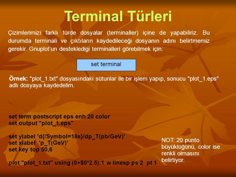 Çizimlerimizi farklı türde dosyalar (terminaller) içine de yapabiliriz. Bu durumda terminali ve çıktıların kaydedileceği dosyanın adını belirtmemiz ge