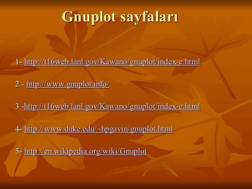Gnuplot sayfaları 1- http://t16web.lanl.gov/Kawano/gnuplot/index-e.html 1- http://t16web.lanl.gov/Kawano/gnuplot/index-e.html http://t16web.lanl.gov/K