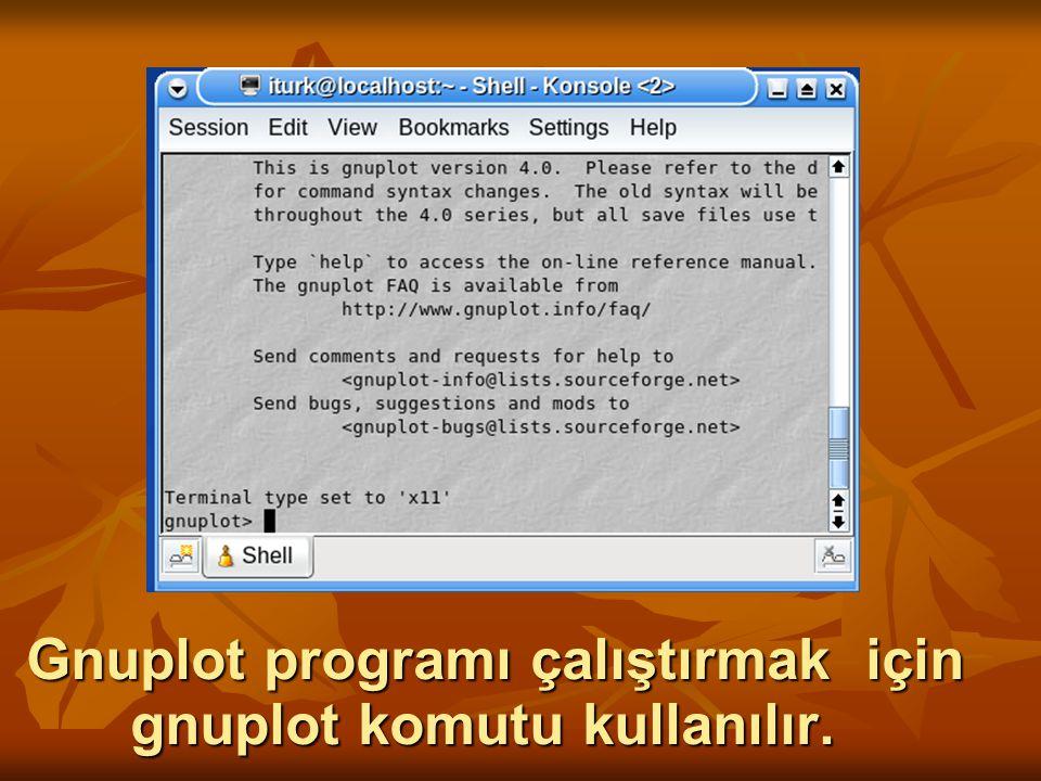 Gnuplot programı çalıştırmak için gnuplot komutu kullanılır.