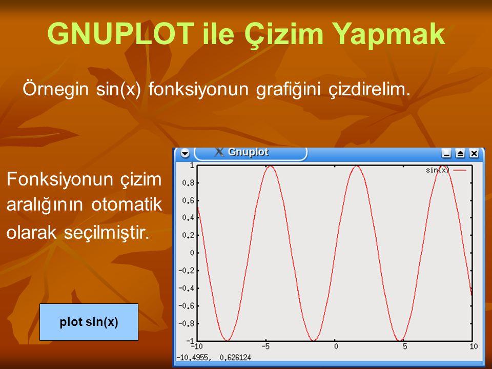Örnegin sin(x) fonksiyonun grafiğini çizdirelim. GNUPLOT ile Çizim Yapmak plot sin(x) Fonksiyonun çizim aralığının otomatik olarak seçilmiştir.