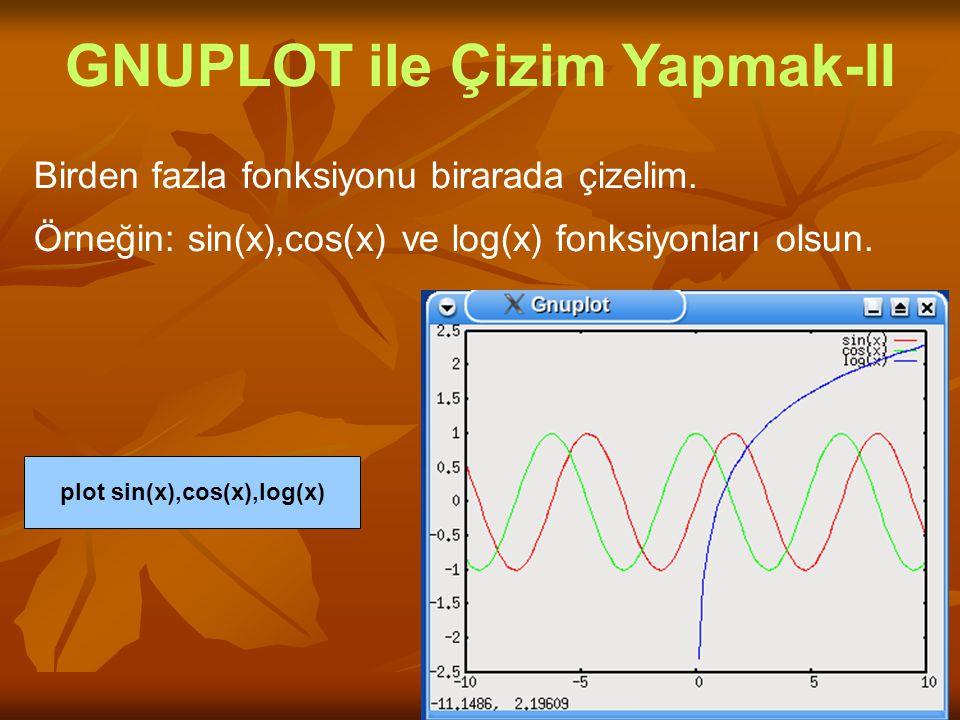 Birden fazla fonksiyonu birarada çizelim. Örneğin: sin(x),cos(x) ve log(x) fonksiyonları olsun. GNUPLOT ile Çizim Yapmak-II plot sin(x),cos(x),log(x)