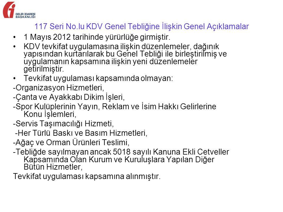 117 Seri No.lu KDV Genel Tebliğine İlişkin Genel Açıklamalar 1 Mayıs 2012 tarihinde yürürlüğe girmiştir.