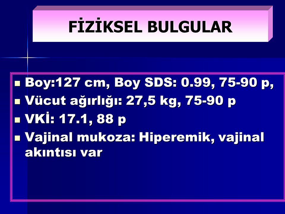 FİZİKSEL BULGULAR Boy:127 cm, Boy SDS: 0.99, 75-90 p, Boy:127 cm, Boy SDS: 0.99, 75-90 p, Vücut ağırlığı: 27,5 kg, 75-90 p Vücut ağırlığı: 27,5 kg, 75