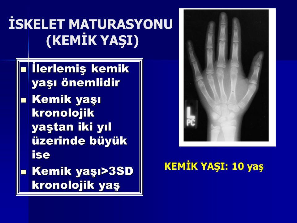 İSKELET MATURASYONU (KEMİK YAŞI) KEMİK YAŞI: 10 yaş İlerlemiş kemik yaşı önemlidir İlerlemiş kemik yaşı önemlidir Kemik yaşı kronolojik yaştan iki yıl üzerinde büyük ise Kemik yaşı kronolojik yaştan iki yıl üzerinde büyük ise Kemik yaşı>3SD kronolojik yaş Kemik yaşı>3SD kronolojik yaş