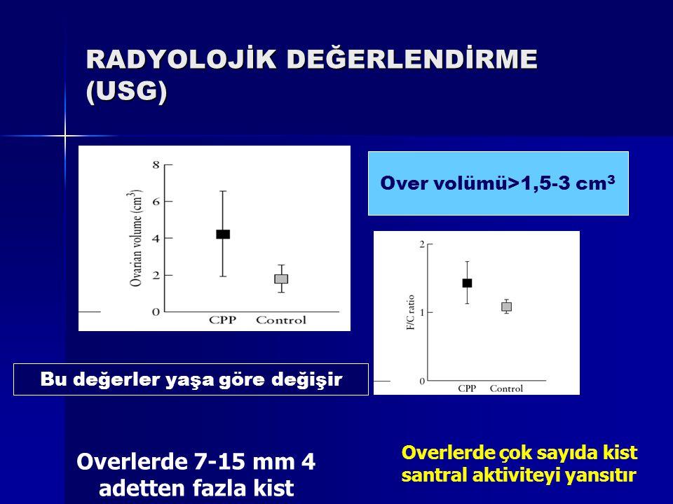 RADYOLOJİK DEĞERLENDİRME (USG) Over volümü>1,5-3 cm 3 Bu değerler yaşa göre değişir Overlerde 7-15 mm 4 adetten fazla kist Overlerde çok sayıda kist s