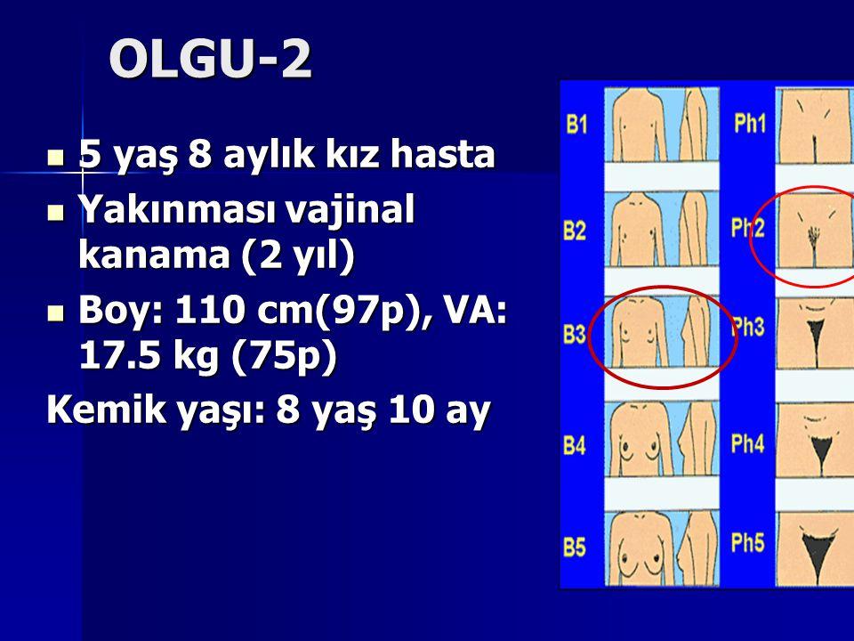 OLGU-2 5 yaş 8 aylık kız hasta 5 yaş 8 aylık kız hasta Yakınması vajinal kanama (2 yıl) Yakınması vajinal kanama (2 yıl) Boy: 110 cm(97p), VA: 17.5 kg (75p) Boy: 110 cm(97p), VA: 17.5 kg (75p) Kemik yaşı: 8 yaş 10 ay