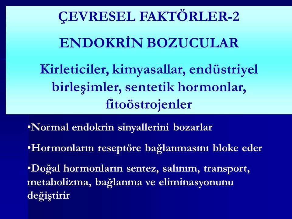 ÇEVRESEL FAKTÖRLER-2 ENDOKRİN BOZUCULAR Kirleticiler, kimyasallar, endüstriyel birleşimler, sentetik hormonlar, fitoöstrojenler Normal endokrin sinyallerini bozarlar Hormonların reseptöre bağlanmasını bloke eder Doğal hormonların sentez, salınım, transport, metabolizma, bağlanma ve eliminasyonunu değiştirir