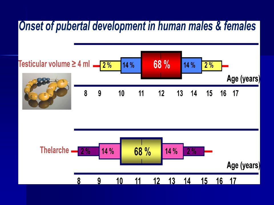 ERKEKLERDE ERKEN PUBERTE Kızlardan daha azdır %60'ında altta bir neden vardır %20 intrakraniyal hastalık, %25 adrenal hastalık, %10 testiste lezyon Erkeklerde erken pubertenin %64'ü yalancı erken puberte