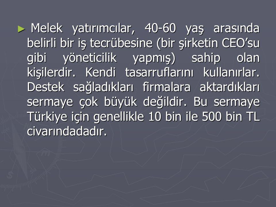 ► Melek yatırımcılar, 40-60 yaş arasında belirli bir iş tecrübesine (bir şirketin CEO'su gibi yöneticilik yapmış) sahip olan kişilerdir. Kendi tasarru
