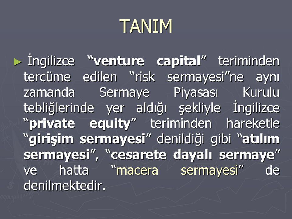 """TANIM ► İngilizce """"venture capital"""" teriminden tercüme edilen """"risk sermayesi""""ne aynı zamanda Sermaye Piyasası Kurulu tebliğlerinde yer aldığı şekliyl"""