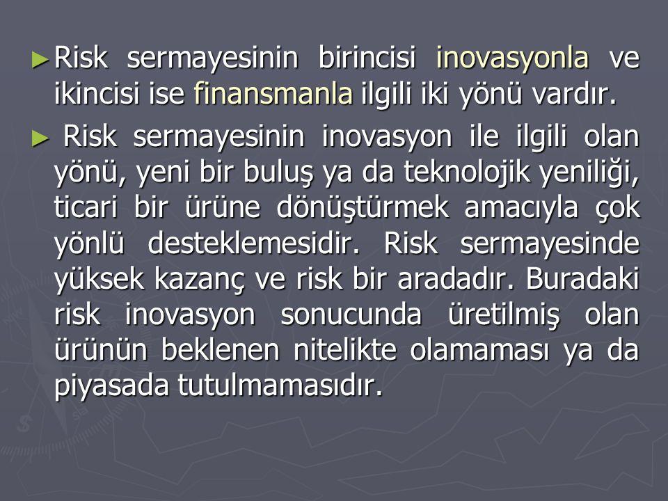 ► Risk sermayesinin birincisi inovasyonla ve ikincisi ise finansmanla ilgili iki yönü vardır. ► Risk sermayesinin inovasyon ile ilgili olan yönü, yeni