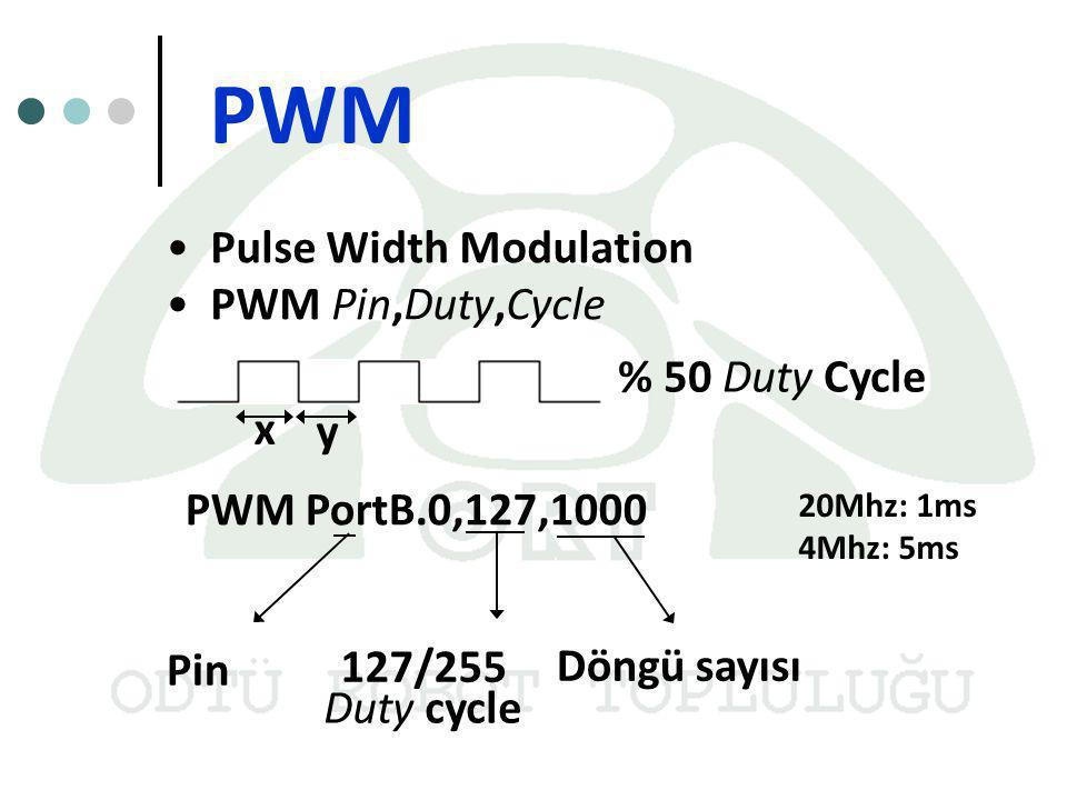 PWM Pulse Width Modulation PWM Pin,Duty,Cycle % 50 Duty Cycle x y PWM PortB.0,127,1000 Pin 127/255 Duty cycle Döngü sayısı 20Mhz: 1ms 4Mhz: 5ms