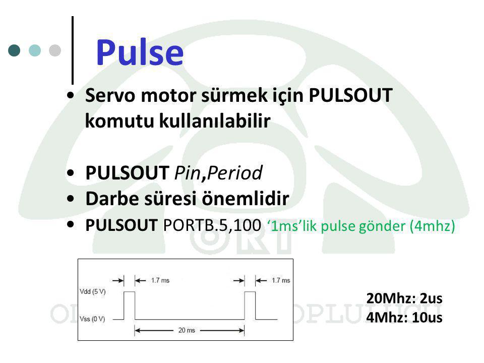 Pulse Servo motor sürmek için PULSOUT komutu kullanılabilir PULSOUT Pin,Period Darbe süresi önemlidir PULSOUT PORTB.5,100 '1ms'lik pulse gönder (4mhz)