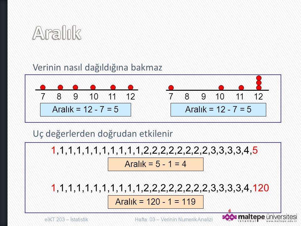 Verinin nasıl dağıldığına bakmaz Uç değerlerden doğrudan etkilenir eİKT 203 – İstatistikHafta: 03 – Verinin Numerik Analizi 7 8 9 10 11 12 Aralık = 12