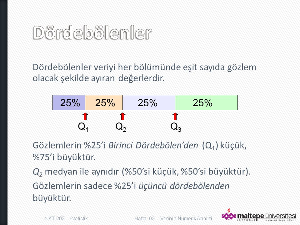Dördebölenler veriyi her bölümünde eşit sayıda gözlem olacak şekilde ayıran değerlerdir. Gözlemlerin %25'i Birinci Dördebölen'den (Q 1 ) küçük, %75'i